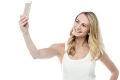 Laat me een selfie nemen Stock Foto