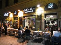 Laat - nacht die in Rome dineert Royalty-vrije Stock Afbeelding