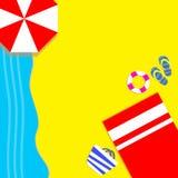 Laat ` s op het strand met rode handdoeken, rode paraplu's zonnebaden en van de zomer genieten bij gemak royalty-vrije stock afbeeldingen