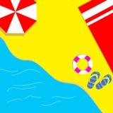 Laat ` s op het strand met rode handdoeken, rode paraplu's zonnebaden en van de zomer genieten bij gemak stock foto