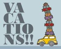 Laat voor pret gaan: een auto klaar voor vakanties. Stock Foto