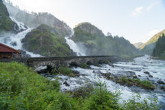 Laatefoss Waterfalls, Norway Royalty Free Stock Image
