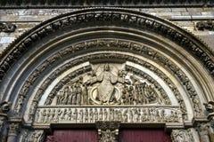 Laatste oordeel in portaal van de Abdij van La Madale stock afbeeldingen