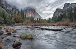 Laatste zonlicht in Yosemite-vallei Stock Fotografie