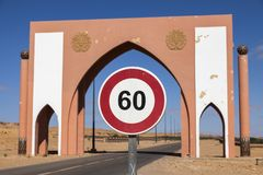 Laayoune city gate. Laayoune, Western Sahara, Morocco royalty free stock images