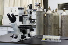 Lab. Microscope and  some  instrument in a lab Stock Photos