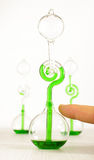 Lab assistant demonstrate hand boiler. Chemistry science and experiment with green liquid thermometer Royalty Free Stock Image