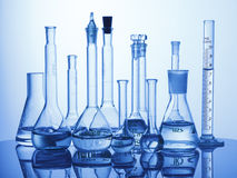 Lab assorted glassware equipment Stock Photography