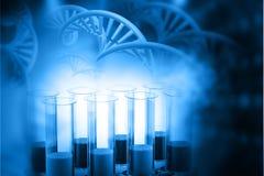 Biochemistry concept. Lab, chemistry, DNA structure, on blue background. 3d illustration biochemistry concept Stock Photography