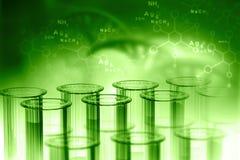 Biochemistry concept. Lab, chemistry, DNA structure, on green background. 3d illustration biochemistry concept Stock Photos