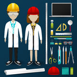 Lab engineering scientist or technician operator uniform clothin. G, stationary and accessories tool icon collection set with layout design isolated background Royalty Free Stock Photos