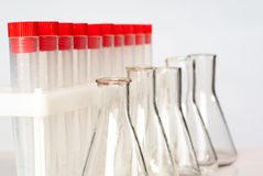 Lab equipment. Set of empty flasks and tubes stock photo
