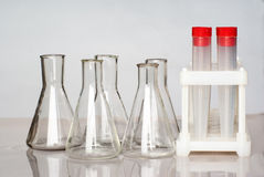 Lab equipment. Set of empry flasks and tubes royalty free stock photo