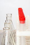 Lab equipment. Set of empty flasks and tubes royalty free stock photo