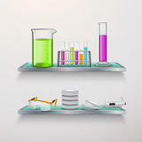 Lab Equipment On Shelves Composition Stock Photos