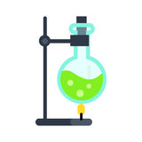 Lab Flask on Fire Illustration in Flat Style. Chemical laboratory tools vector. Flat style. Lab flask with green liquid on fire. Chemical experiment and Royalty Free Stock Image