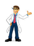 Lab Geek Man. Cartoon with glasses and wearing a lab coat and hands on hips smiling invite Stock Photography