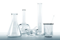 Lab glassware. Transparent glassware lab kit on white background Stock Photography