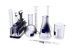 Lab Glassware 3D rendered xray blue Stock Images