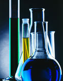 Lab Glassware. An arrauy of laboratory glassware with chemicals Stock Image