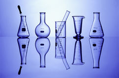 Lab Glassware On Blue Stock Photography