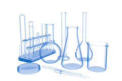 Lab Glasware (3D xray blue on white) Royalty Free Stock Photo