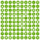 100 lab icons hexagon green. 100 lab icons set in green hexagon isolated vector illustration Stock Images