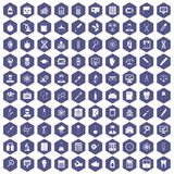 100 lab icons hexagon purple Stock Photos
