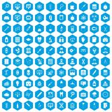 100 lab icons set blue. 100 lab icons set in blue hexagon isolated vector illustration stock illustration