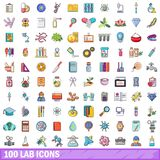 100 lab icons set, cartoon style. 100 lab icons set. Cartoon illustration of 100 lab vector icons isolated on white background Royalty Free Stock Images