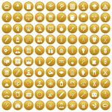 100 lab icons set gold. 100 lab icons set in gold circle isolated on white vectr illustration Stock Photography