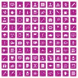 100 lab icons set grunge pink. 100 lab icons set in grunge style pink color isolated on white background vector illustration Royalty Free Stock Photography