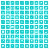 100 lab icons set grunge blue Stock Image
