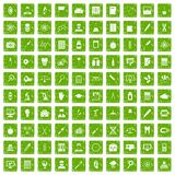 100 lab icons set grunge green Royalty Free Stock Images