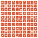 100 lab icons set grunge orange. 100 lab icons set in grunge style orange color isolated on white background vector illustration Royalty Free Stock Photography