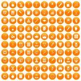 100 lab icons set orange. 100 lab icons set in orange circle isolated vector illustration Vector Illustration