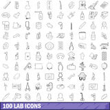100 lab icons set, outline style. 100 lab icons set in outline style for any design vector illustration Royalty Free Stock Photography