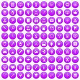 100 lab icons set purple. 100 lab icons set in purple circle isolated vector illustration Royalty Free Illustration