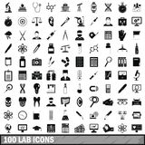 100 lab icons set, simple style. 100 lab icons set in simple style for any design vector illustration Royalty Free Stock Images