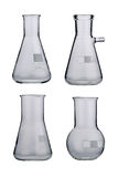 Lab. Laboratory glassware set on a background Stock Images