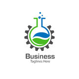 Lab logo with leaf and gear symbol Royalty Free Stock Photo