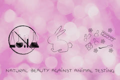 Lab phials crossed out next to bunny & natural make-up Royalty Free Stock Photo