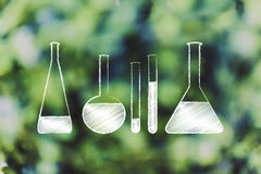 Lab phials with liquids, science and chemistry Stock Images