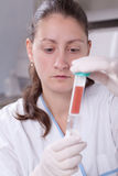 Lab scientist with petri dish Stock Photo