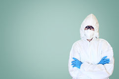 Lab scientist in safety suit Royalty Free Stock Photo