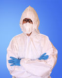 Lab scientist in safety suit. Stock Photos