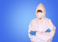 Lab scientist in safety suit Stock Image