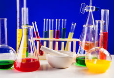 Lab set for chemistry with colored liquids in them Stock Photography