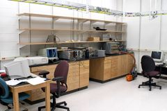 Lab space. A lab experiment on cold fusion being done in a underground lab Royalty Free Stock Image