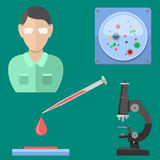 Lab symbols test medical laboratory scientific biology design molecule microscope concept and biotechnology science Stock Photo